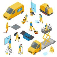Set di icone di pulizia industriale isometrica