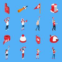 Sports Fans With Accessories Isometric Set