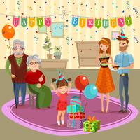 Familj Födelsedag Hem Celebration Cartoon Illustration