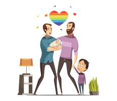 Gay Loving Family Retro Cartoon Illustration
