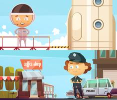 Policeman And Astronaut Professions Banners