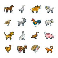 Conjunto de animais de fazenda de linha