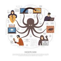 Hackers Criminal  Net Scheme Flat Poster vector