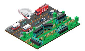 Train Wreck Isometric Design
