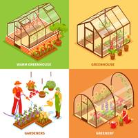 Greenhouse Design Concept Set vector