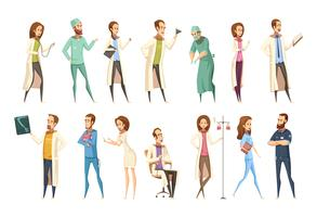 Nurse Characters Set Cartoon Retro Style