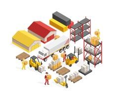 Warehouse Logistics Isometric Concept