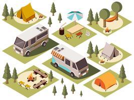 Conjunto isométrico de elementos del campamento