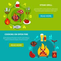 Steak Grill And Cooking On Open Fire Flat