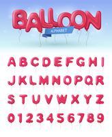 Insieme realistico dell'icona dell'alfabeto dell'aerostato