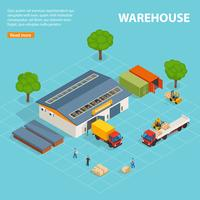 Warehouse Top View Isometric Design Composition