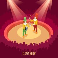 Circus Clowns Show Isometric Poster