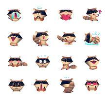 Grande set di icone di personaggio dei cartoni animati di procione