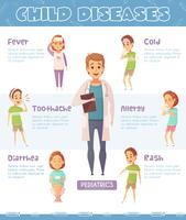 Kinderkrankheiten Cartoon Infografiken