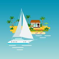 Composición de vacaciones de yate tropical