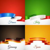 Flag Design Ribbon Concept Icons Set