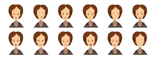 Kvinna Emotions Avatars Set Cartoon Style