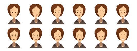 Kvinna Emotions Avatars Set Cartoon Style