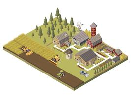 Farm Buildings And Cultivated Fields Illustration  vector