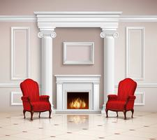 Classic Interior With Fireplace And Armchairs vector