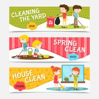 Kids Cleaning Horizontal Banners vector