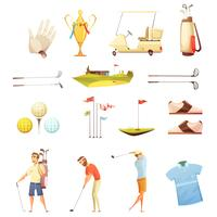 Conjunto de ícones de desenhos animados retrô de atributos de golfe