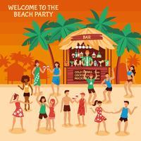 Ilustración de fiesta en la playa