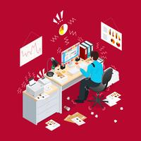 Deadline Office Isometric Composition