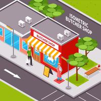 Butcher Shop Outside Isometric Design