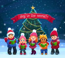 Caroling kids composition