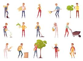 Gardener Characters Icon Set