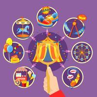 Ilustração em vetor coleção parque de diversões