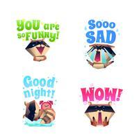 Raccoon Mood 4 Cartoon Icons Composition