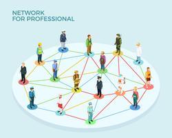 Conceito isométrico profissional de rede