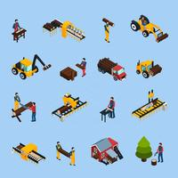 Sawmill Isometric Icons Set vector