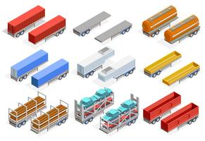 Trailers isometrische set vector