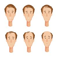 balding man heads set