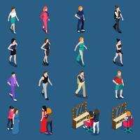 Set isometrico di modelli di moda