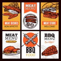 Pratos verticais de pratos de carne