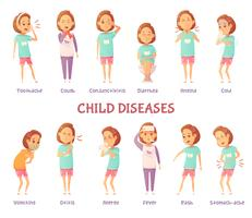 Infantile Diseases Symptoms Set