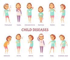Set di sintomi di malattie infantili