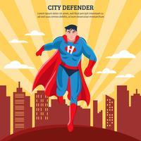 Ilustración de Vector plano de defensor de ciudad