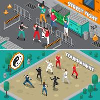 Martial Arts People Isometric Banners vector