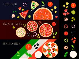 Pizza Constructor Banners Set vector