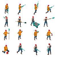 Minière personnes isométrique Icons Set