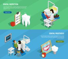 Stomatology Isometric Horizontal Banners vector