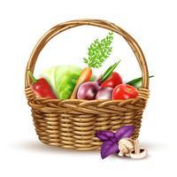 Immagine realistica del cestino di vimini del raccolto delle verdure
