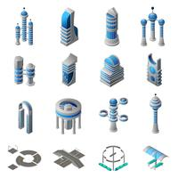 Future City Isometric Icons Set