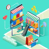 Cartaz de Design isométrico de compras on-line de comércio eletrônico