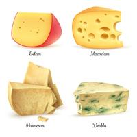 Quality Cheese 4 Realistic Images Set